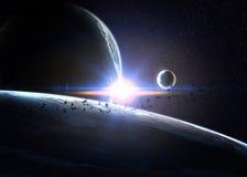 Planètes au-dessus des nébuleuses dans l'espace illustration stock