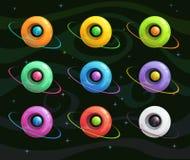 Planètes colorées d'imagination de bande dessinée réglées Illustration Stock