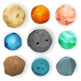 Planètes comiques réglées Images stock