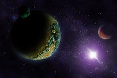 Planètes dans l'espace foncé profond. illustration libre de droits