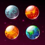 Planètes dans l'illustration de bande dessinée de vecteur de galaxie de l'espace illustration stock
