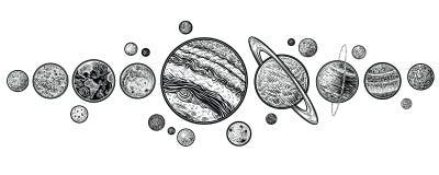 Planètes dans les illustrations tirées par la main de vecteur de système solaire Photographie stock