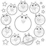 Planètes de bande dessinée de coloration avec Sun et lune Photo libre de droits
