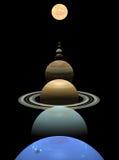 Planètes de système solaire alignées autour du soleil Photo stock