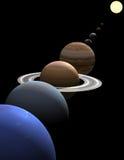 Planètes de système solaire alignées autour du soleil Images libres de droits