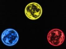 Planètes de triplets de fond de galaxie d'abrégé sur peinture de Digital bleus, jaunes et rouges dans l'espace lointain illustration libre de droits