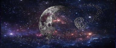 Planètes et galaxies, papier peint de la science-fiction Beauté d'espace lointain photographie stock libre de droits