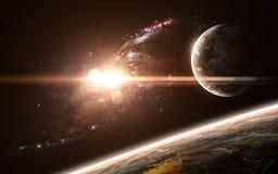Planètes, galaxie, beau paysage de l'espace La science-fiction abstraite Des éléments de l'image ont été fournis par la NASA photo stock