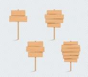 A planície de madeira 3d vazio do sinal empilhou o grupo da lista das pranchas ilustração do vetor