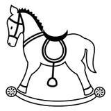 Planície do cavalo de balanço em preto e branco ilustração stock