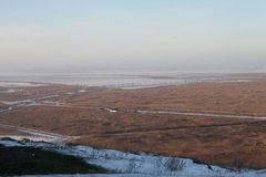 Planície enevoada da paisagem do inverno Fotos de Stock Royalty Free