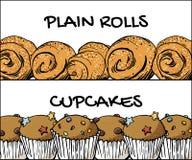 A planície rola a bandeira; bandeira dos queques; índice da padaria da loja no vetor ilustração stock