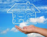 Plan à la maison ouvert de meubles de main Image stock