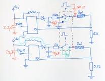 Plan électrique dessiné avec le stylo bleu et rouge Photo libre de droits