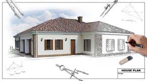Plan 2 van het huis Stock Afbeelding