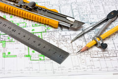 Plan. Working plan of building with engineering tools Royalty Free Stock Photo