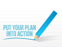Plan into action written on a white paper. Stock Photos