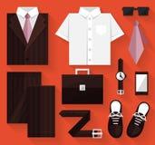 Plan affärssamlingsklänning Brown färg Arkivfoto