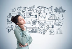 Plan africain de femme et d'affaires, gris Images stock