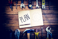 Plan against blueprint Royalty Free Stock Photo