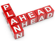 Plan Ahead. Red Plan Ahead cubes over white background Stock Photo