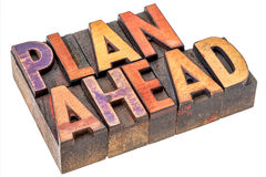 Plan ahead  words in wood type Stock Images