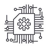 Plan, AI, ligne icône, signe, illustration de vecteur d'intelligence artificielle sur le fond, courses editable Image libre de droits