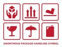 Plan anonym packe som behandlar symbol med röd färg stock illustrationer