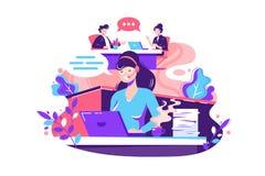 Plan anställd för den unga kvinnan kallar inom kontor stock illustrationer