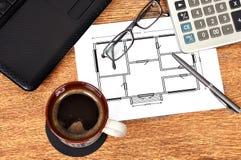 Plan apartament on  paper Stock Images