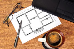 Plan apartament on paper Stock Photography