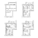 Plan apartments before and after redevelopment with furniture. Three variants of redevelopment. Royalty Free Stock Photo