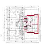 Plan of the architect on white bakcground, scanned Stock Photos