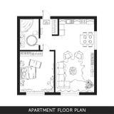 Plan architectural avec des meubles dans la vue supérieure Photos stock