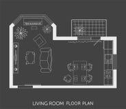 Plan architectural avec des meubles dans la vue supérieure Photos libres de droits
