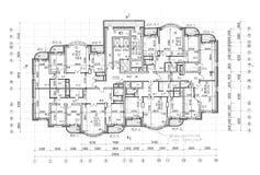 Plan architectural de construction d'étage Photos libres de droits