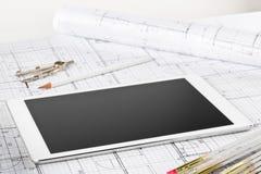 Plan architectural de construction de logements de mod?le de PC de Tablette images libres de droits