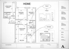 Plan architectural de maison Photo stock