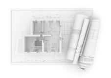 Plan architectural de projet sur le fond blanc illustration stock