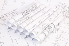 Plan architectural Dessins et modèles de maison d'ingénierie photo libre de droits