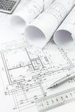 Plan architectural et outils images libres de droits