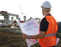 Plan-Architekten-Career Structure Constructions-Konzept Lizenzfreies Stockbild