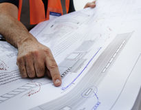 Plan-Architekten-Career Structure Constructions-Konzept Stockfotos