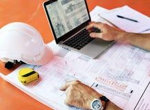 Plan-Architekten-Career Structure Constructions-Konzept Lizenzfreie Stockfotos