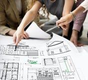 Plan-Architekten-Construction Project Sketch-Konzept Lizenzfreies Stockbild