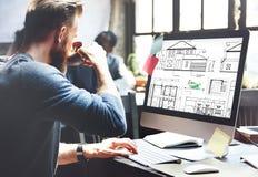 Plan-Architekten-Construction Project Sketch-Konzept Stockfotografie
