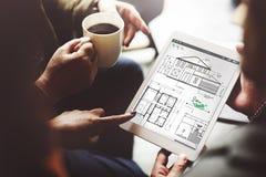 Plan-Architekten-Construction Project Sketch-Konzept Lizenzfreies Stockfoto