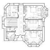 Plan arquitectónico blanco y negro de una casa Disposición del apartamento libre illustration