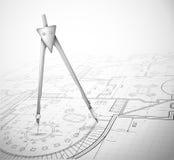 Plan arquitectónico con el compás stock de ilustración