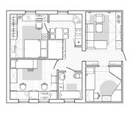 Plan arquitectónico de una casa Plan de piso del apartamento con los muebles stock de ilustración